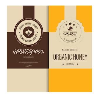 Etiqueta de abelha de mel e banner de fundo.