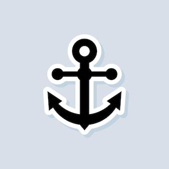 Etiqueta de âncora. conceito de mar ou oceano. vetor em fundo isolado. eps 10.