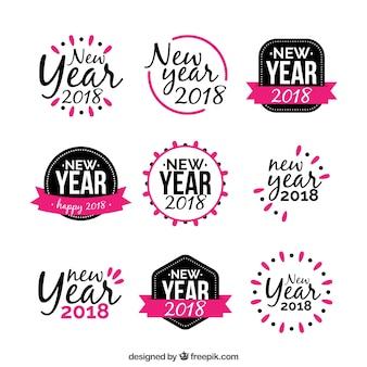 Etiqueta de ano novo em preto e rosa