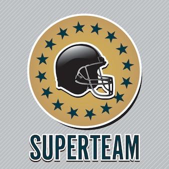 Etiqueta de capacete de futebol americano em fundo cinza ilustração vetorial