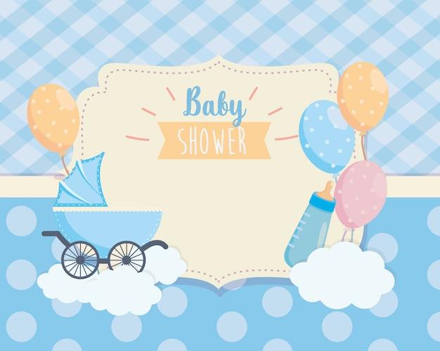 Etiqueta de carrinho de bebê e balões deccoration