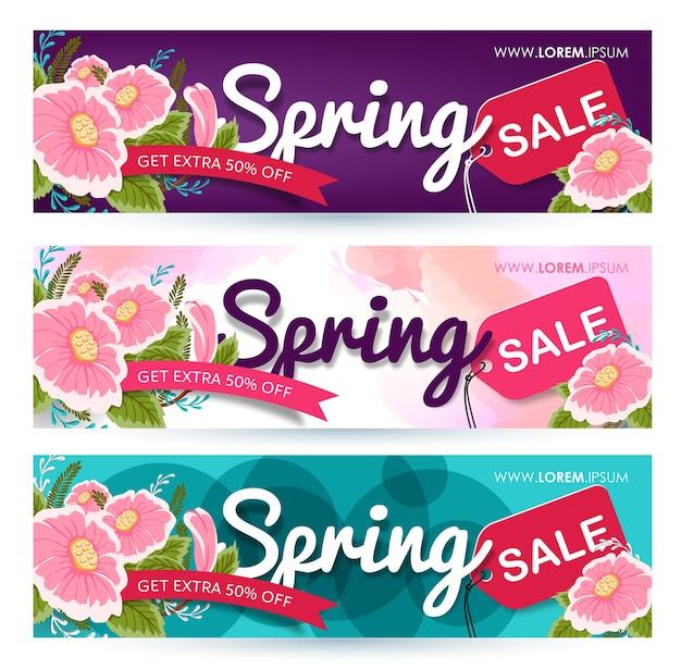 Etiqueta de cartaz do banner de venda de primavera.
