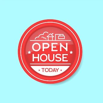 Etiqueta de casa aberta hoje