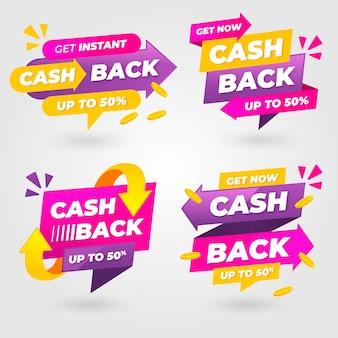 Etiqueta de cashback com setas