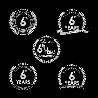 Etiqueta de celebração de aniversário de 6 anos com grinalda de louro