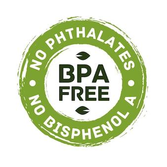 Etiqueta de certificado de vetor livre bpa sem ftalatos e sem bisfenol a para verificação de carimbo de embalagem de alimentos seguros