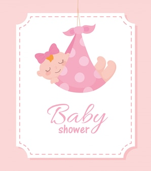 Etiqueta de chá de bebê, garotinha linda em cobertor pontilhado, etiqueta de celebração de recém-nascido