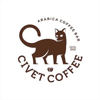 Etiqueta de círculo com vetor de gato civeta dentro