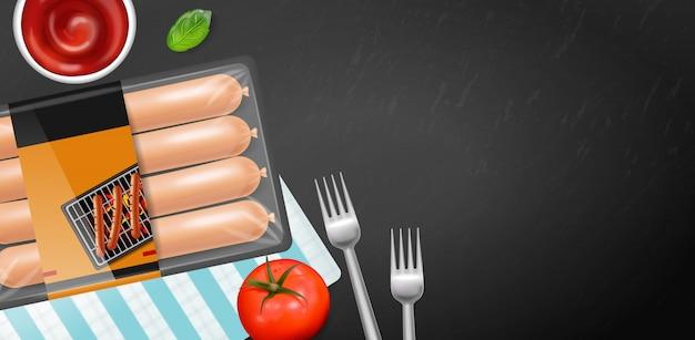 Etiqueta de colocação do produto de embalagem de salsicha