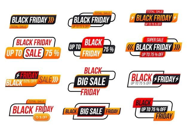 Etiqueta de compra de sexta-feira negra sobre fundo branco. coleção de marca black friday.