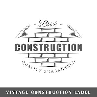 Etiqueta de construção isolada em fundo branco