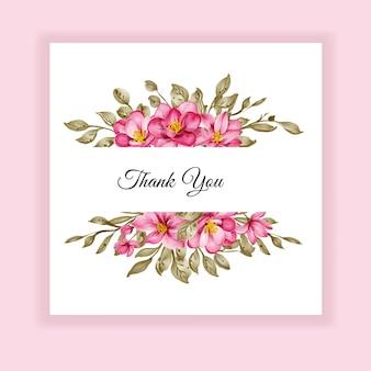 Etiqueta de convite de casamento com moldura de aquarela e flor rosa