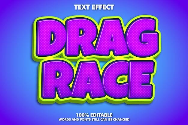 Etiqueta de corrida de arrancada, efeito de texto brilhante dos desenhos animados
