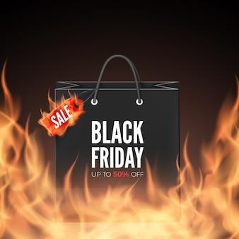 Etiqueta de desconto e sacola de compras em chamas