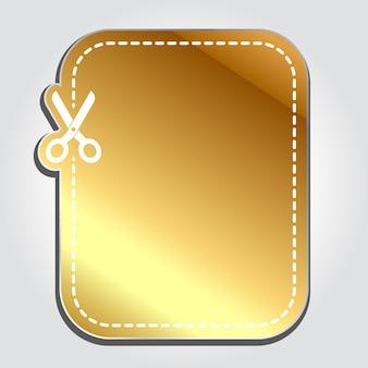 Etiqueta de desconto realista dourada
