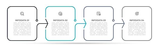 Etiqueta de design de modelo de infográfico de linha fina com 4 opções ou etapas.