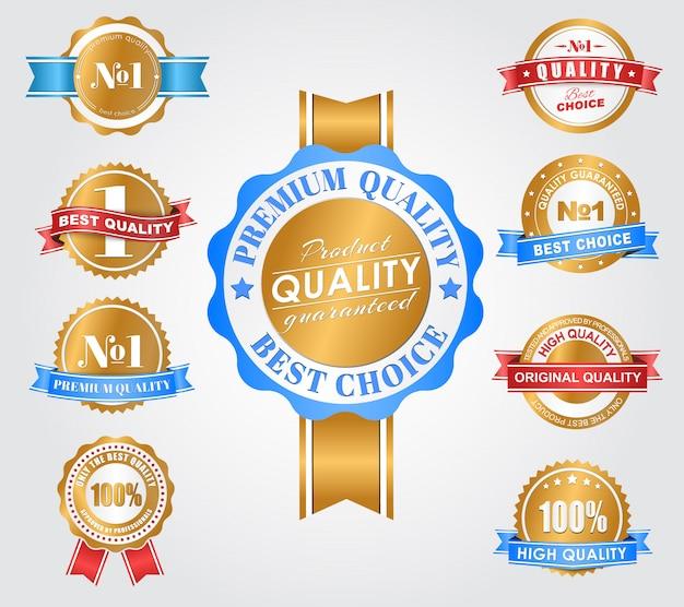 Etiqueta de design definida com a marca de qualidade