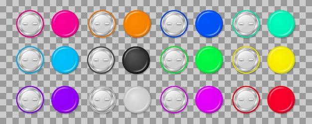 Etiqueta de distintivos fixos redondos, botão de metal brilhante, alfinetes de broche realista. coleção de botões de pinos coloridos isolados em fundo transparente. estilo 3d.