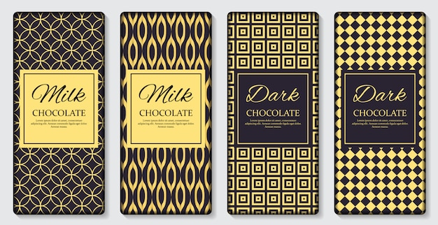 Etiqueta de embalagem de barra de chocolate escuro e leite
