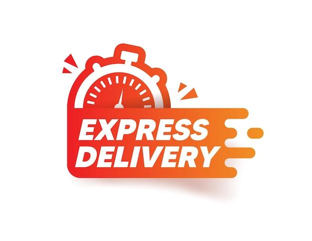 Etiqueta de entrega expressa. autocolante de cronómetro
