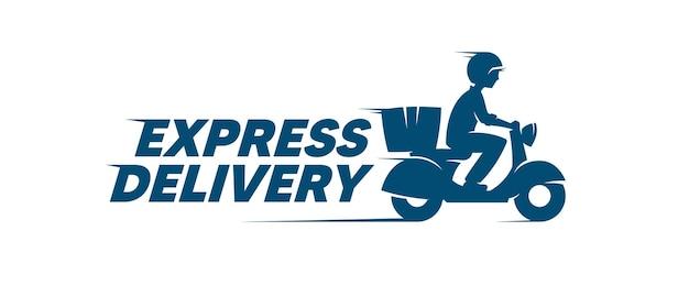 Etiqueta de entrega expressa. menino de correio andando de bicicleta a motor. logotipo do vetor