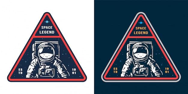 Etiqueta de espaço com conjunto de astronauta