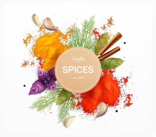 Etiqueta de especiarias e ervas decorada com folhas de louro de manjericão e pó de curry e páprica ilustração realista