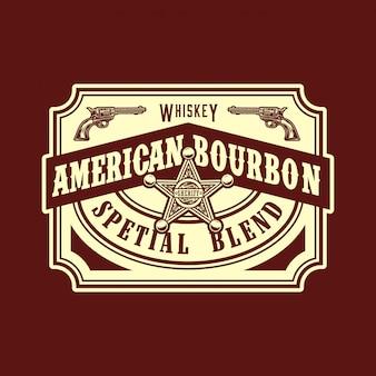 Etiqueta de estilo ocidental selvagem de bourbon americano