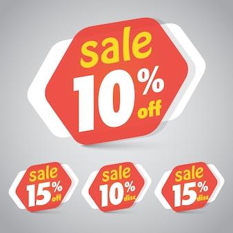Etiqueta de etiqueta de venda para design de design de varejo de marketing com 10% de desconto de 15%.