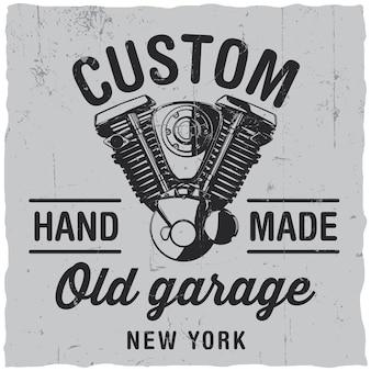 Etiqueta de garagem antiga personalizada Vetor grátis