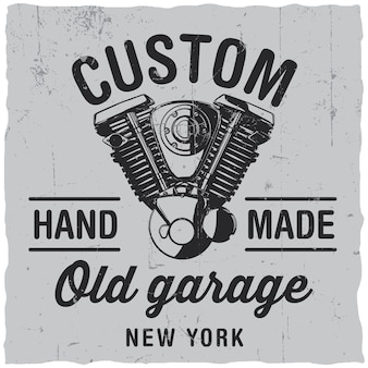 Etiqueta de garagem antiga personalizada