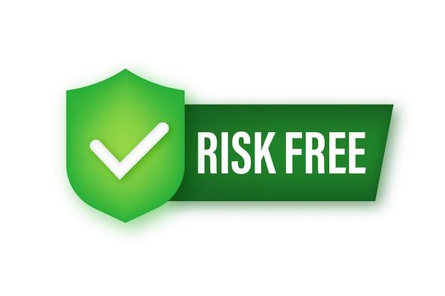 Etiqueta de garantia livre de risco em fundo branco. ilustração vetorial.