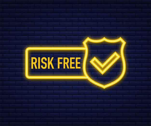 Etiqueta de garantia livre de risco em fundo escuro. ilustração vetorial.