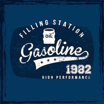 Etiqueta de gasolina sobre ilustração vetorial de fundo azul