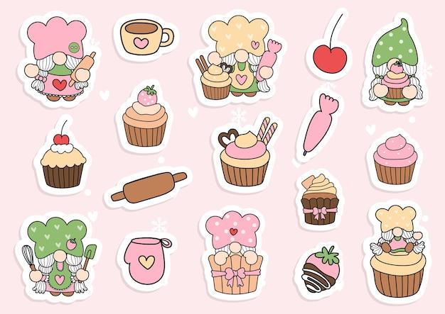 Etiqueta de gnomo de cupcake em aquarela, planejador de gnomo de baker e álbum de recortes.