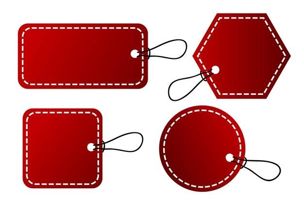 Etiqueta de gradiente vermelho de vetor de 4 formas, borda de ponto branco com corda preta, isolada no branco