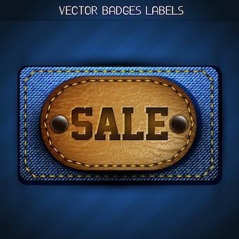 Etiqueta de jeans elegante e venda de couro