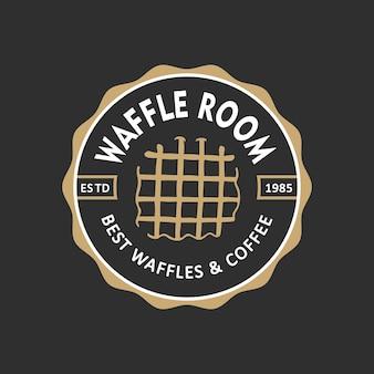 Etiqueta de loja de padaria estilo vintage emblema logotipo waffle