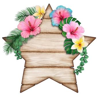 Etiqueta de madeira em forma de estrela em aquarela com flores tropicais