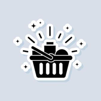 Etiqueta de mercearias. cesta de compras. conceito de compras e comércio eletrônico. vetor em fundo isolado. eps 10.