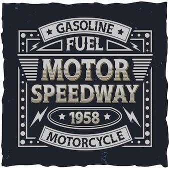 Etiqueta de motor vintage com composição de letras