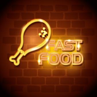 Etiqueta de néon da galinha do fast food