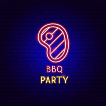 Etiqueta de néon de festa para churrasco. ilustração em vetor de promoção de churrasco.