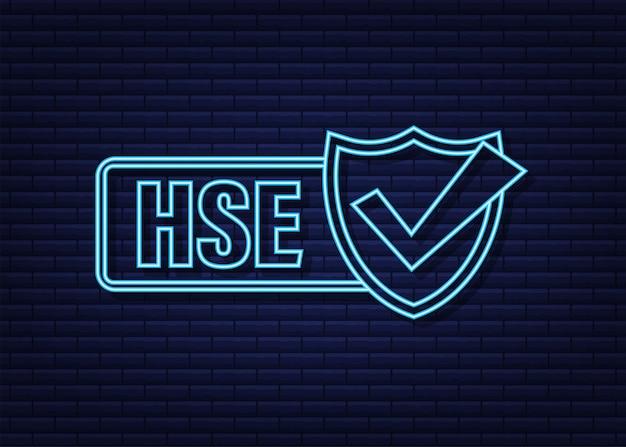 Etiqueta de néon hse saúde segurança ambiente design de ícone segurança no trabalho