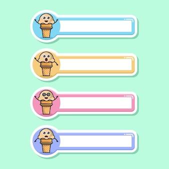 Etiqueta de nome de sorvete, mascote de personagem fofa