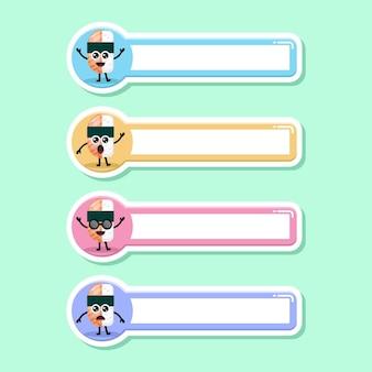 Etiqueta de nome de sushi, mascote de personagem fofa