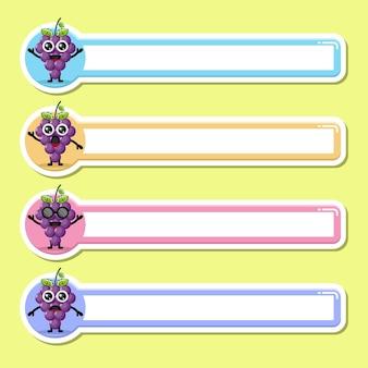 Etiqueta de nome de uvas, etiqueta, personagem fofa mascote