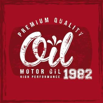Etiqueta de óleo sobre ilustração vetorial de fundo vermelho