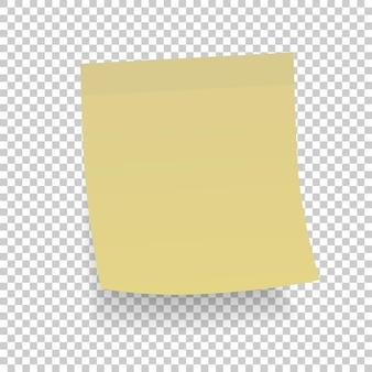 Etiqueta de papel amarelo com sombra. ilustração vetorial.