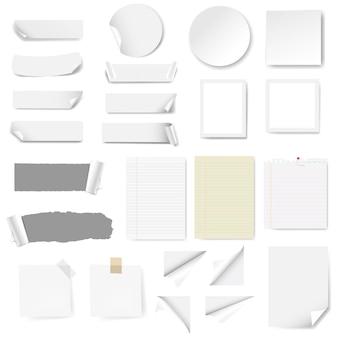 Etiqueta de papel e papel de nota em branco isolados
